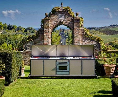Dfn by samuele mazza linear kitchen with automatic cover 5