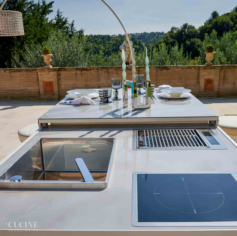 Dfn by samuele mazza island kitchen with sliding table 3