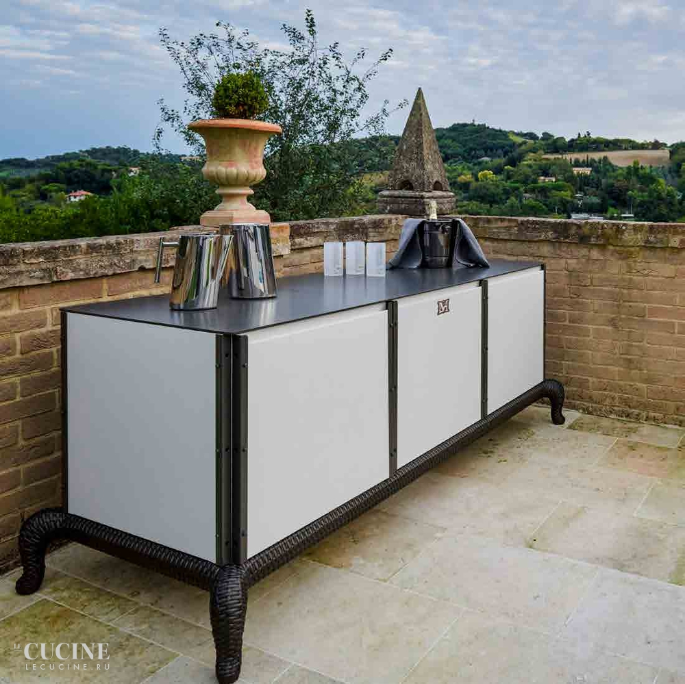 Dfn by samuele mazza linear kitchen with sliding cover bar version 1