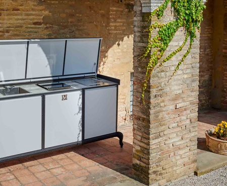 Dfn by samuele mazza linear kitchen with manual cover 2